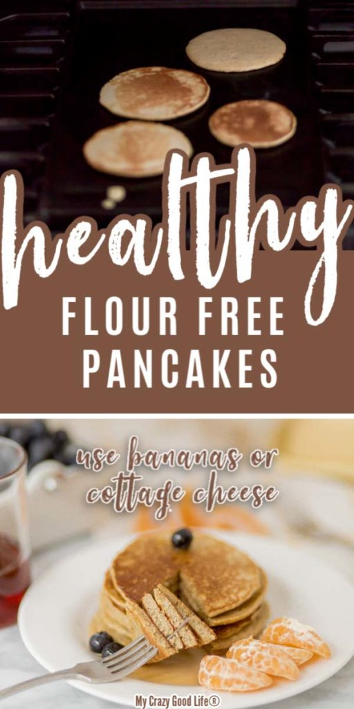 collage with text for no flour pancakes