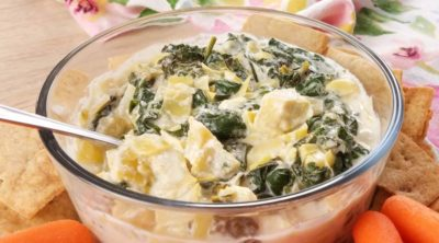 close up of spinach artichoke dip