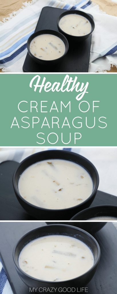 Making healthy choices is much easier when there are delicious options! You can make a batch of this quick and easy cream of asparagus soup to fight those cravings. It's also really easy to make this cream of asparagus soup vegan. #soup #healthy #recipes