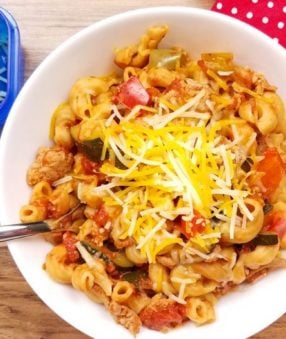 My family loves pasta. It's one of the reasons why this Weight Watchers Instant Pot goulash is a favorite recipe around here. It doesn't hurt that it's ready in almost no time and I don't have to watch it! I just dump, stir, and set the Instant Pot. Before I know it there's a healthy and tasty dinner on the table. #weightwatchers #instantpot