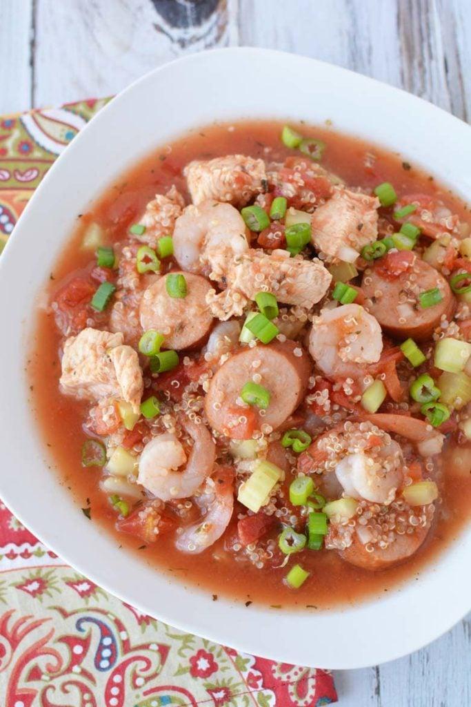 white bowl of jambalaya with quinoa