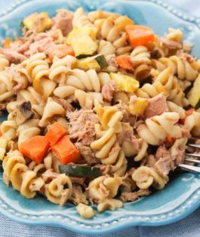close up of slow cooker healthy tuna casserole