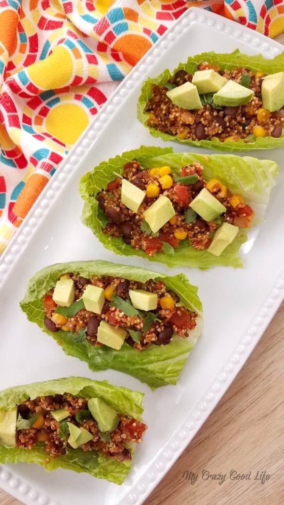 These Quinoa Tacos are the perfect vegan taco recipe! Make these in the Instant Pot, Slow Cooker, or on the Stove. Whether you're looking for a meatless Monday recipe or just a vegetarian taco recipe, these are a great family friendly meal. Quinoa and black beans make for a filling taco recipe!#21DayFix #Vegan #Vegetarian #InstantPot #SlowCooker
