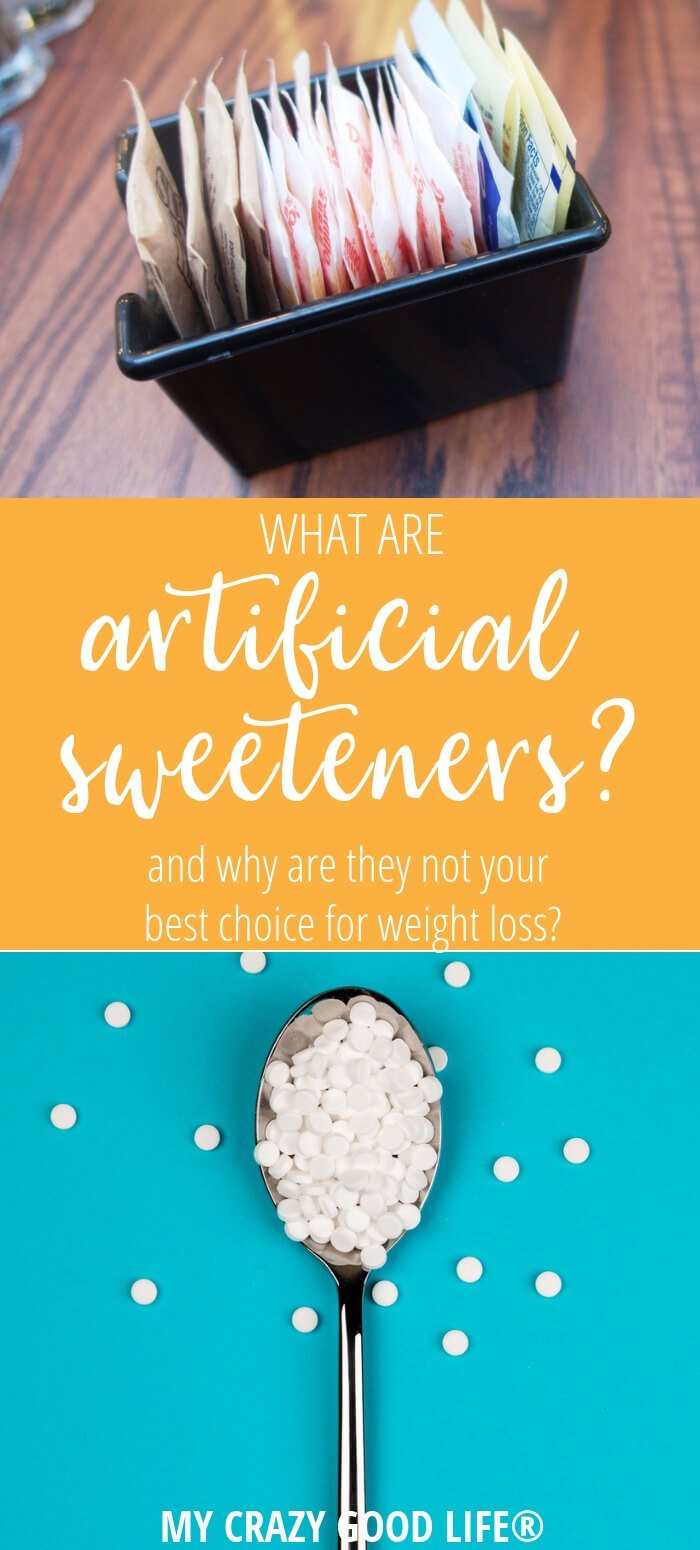 image with text of artificial sweeteners in packets and on a spoon