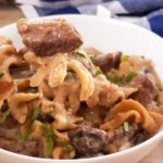 This healthy Beef Stroganoff recipe is one that the entire family will love! This is a hearty Instant Pot dinner that has been lightened up so you can even enjoy it on the 21 Day Fix. Easy Beef Stroganoff | Slow Cooker Beef Stroganoff | Crockpot Beef Stroganoff | 21 Day Fix Beef Stroganoff | healthy dinner recipes | healthy instant pot recipes