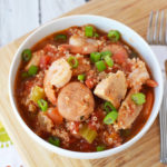This Instant Pot jambalaya is packed full of bold flavors and healthy protein! If your family is anything like mine it will be come a fast favorite.  #instantpot #21dayfix #21dfx #21dayfixrecipes #instantpotrecipes #quickdinnerrecipes #jambalaya