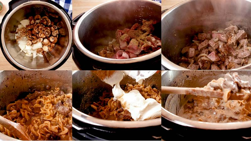 Collage of how to make beef stroganoff