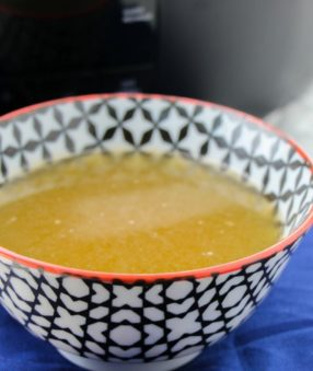 Crockpot Bone Broth is an easy way to get a ton of extra nutrients into your day! While many people add bone broth to recipes, some drink bone broth daily by itself. Bone broth is healthy and easy to make in the slow cooker! #bonebroth #chickenbonebroth #recipes #crockpotrecipes #slowcooker #slowcookerrecipes