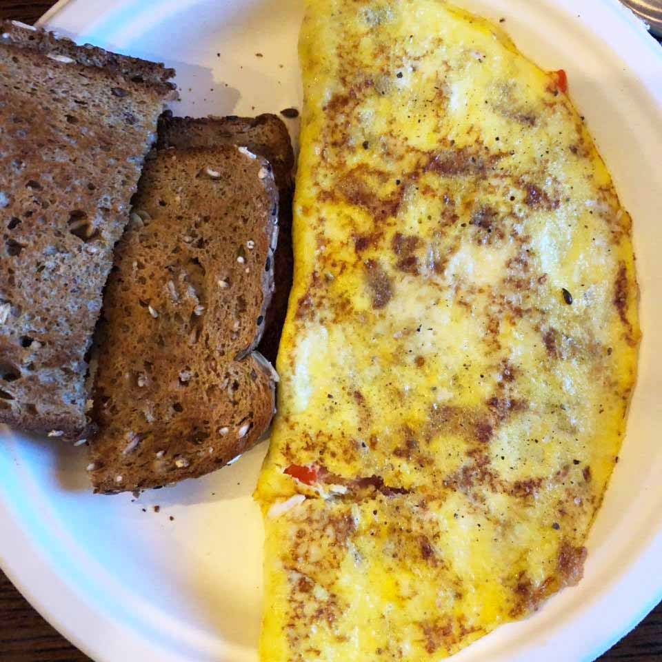 Veggie and bacon omelette with Dave's Killer bread