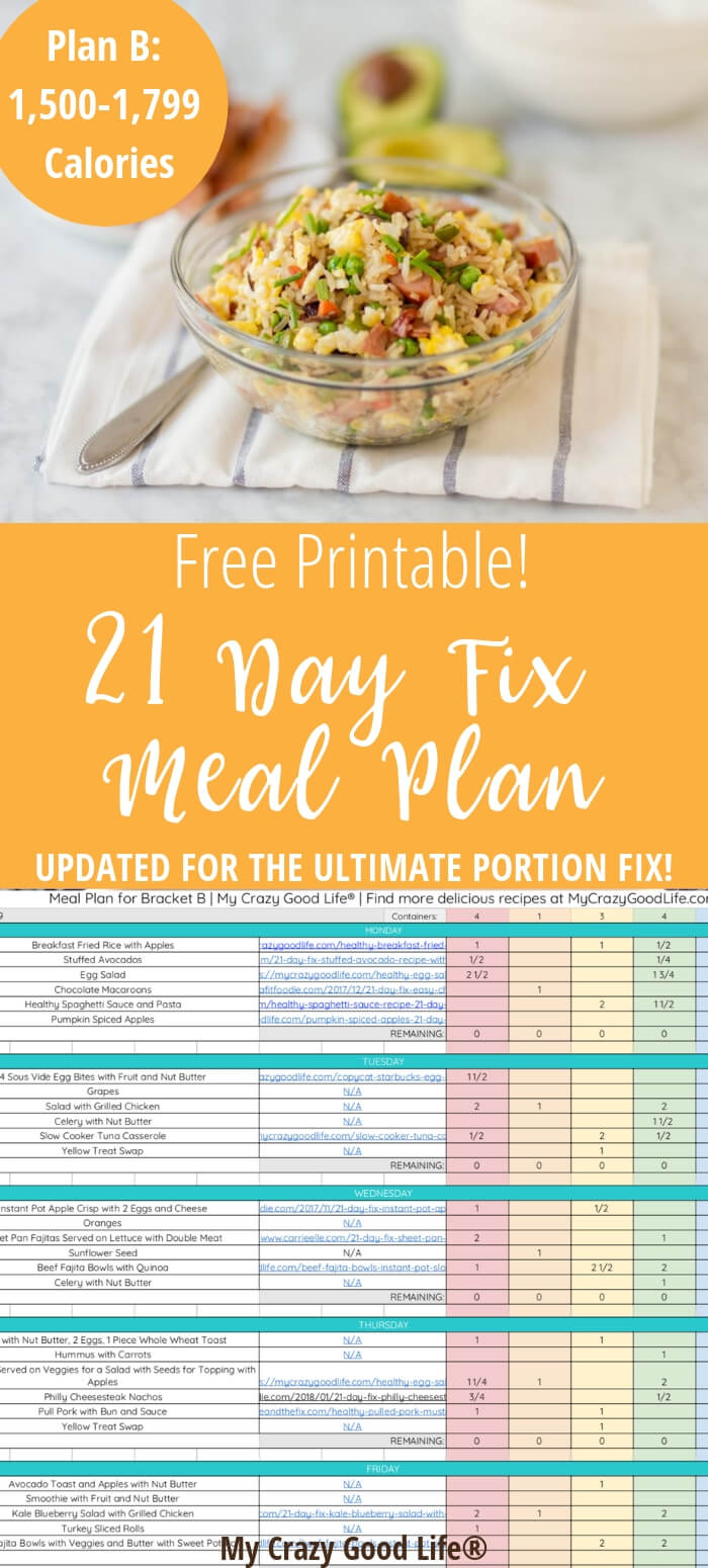 This free 21 Day Fix Meal Plan B is for the 1,500 calorie bracket. This is also an Ultimate Portion Fix Meal Plan for Plan B. Delicious and easy recipes and meals to get the best Ultimate Portion Fix results! Meal Planning and Prepping is so much easier with a plan!