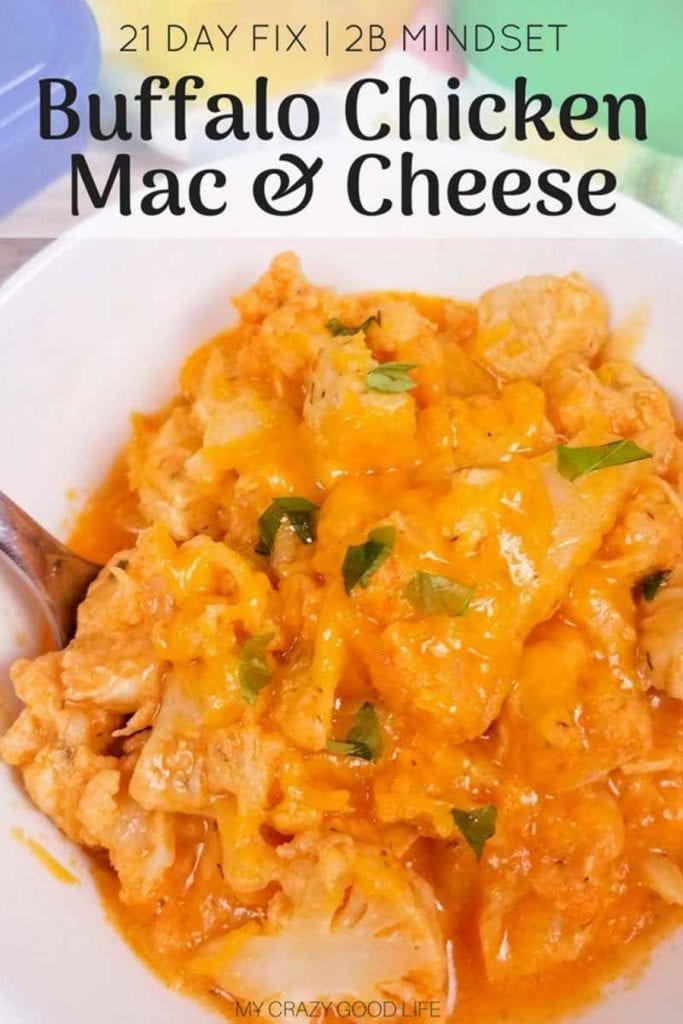 This healthy buffalo chicken mac and cheese is made with cauliflower, and I've included information for both the 21 Day Fix and 2B Mindset. This spicy cauliflower mac and cheese with chicken is that it's got a boost of protein, no FFCs, and veggies first, so it's also good for a 2B lunch or dinner!Instant Pot, slow cooker, and stove top directions included.#2BMindset #21DayFix #recipes #instantpot