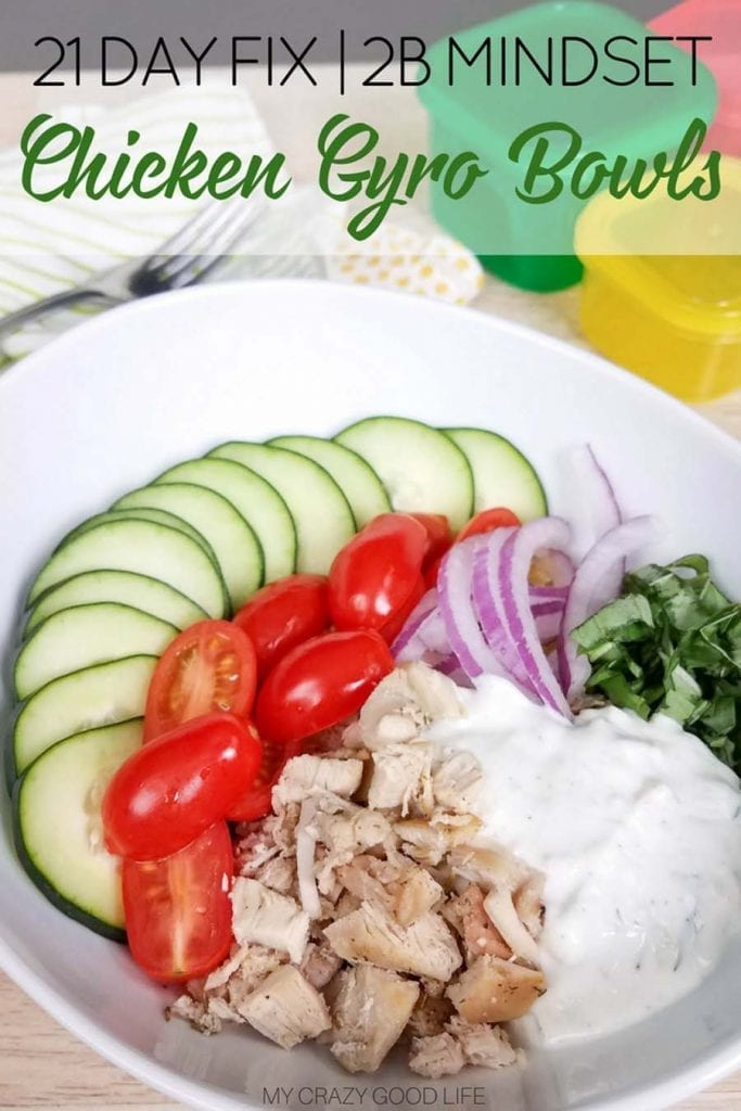 These healthy chicken gyro bowls with homemade tzatziki sauce are the perfect summer family meal! Delicious gyro chicken with fresh vegetables and homemade tzatziki sauce make this meal prep recipe one to save! #veggiesmost #2bmindset #21dayfix #mealprep #beachbody #dinnerrecipe #gyrobowl #healthydinner