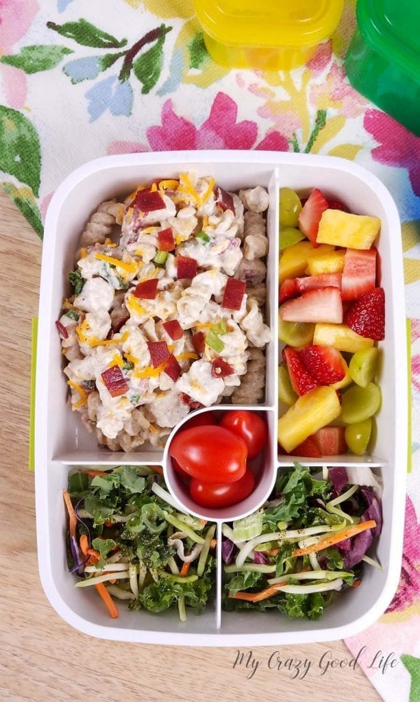 image of meal prep container with crack chicken pasta salad, fruit, and green salad