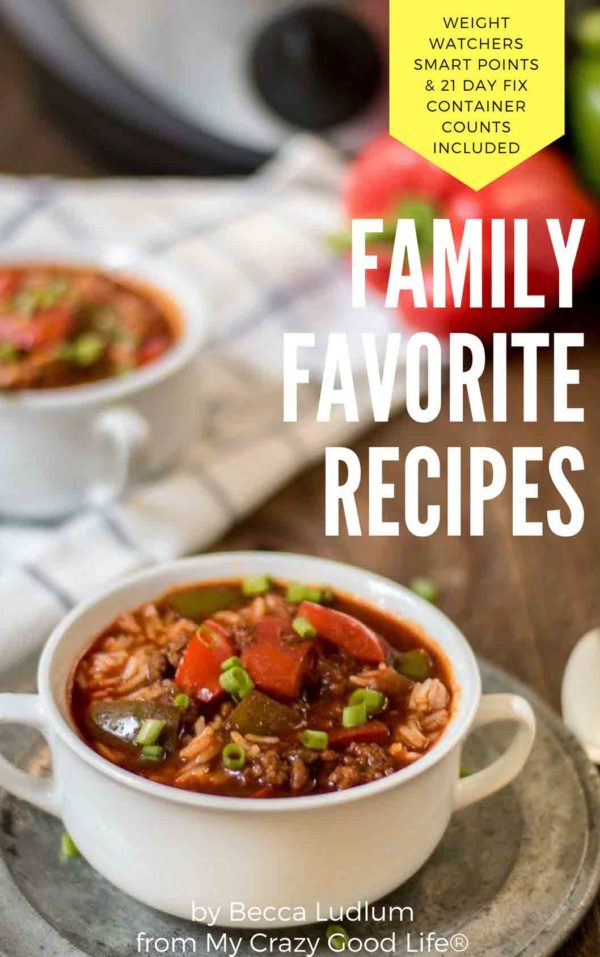 All of your favorite healthy recipes from My Crazy Good Life in an easy to print document! Weight Watchers Freestyle Points and 21 Day Fix container counts are listed at the end of the book.