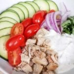 This healthy chicken gyro bowl recipe with homemade tzatziki sauce is a perfect summer family meal! A delicious spaghetti squash bowl with gyro chicken, fresh vegetables and healthy tzatziki sauce make this easy meal prep recipe one to save! Delicious Recipe | Delicious Dinner Recipe | Healthy Dinner Recipe | Gyros | Chicken Gyros
