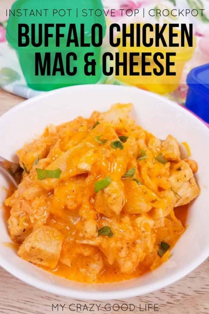This healthy buffalo chicken mac and cheese is made with cauliflower, and I've included information for both the 21 Day Fix and 2B Mindset. This spicy cauliflower mac and cheese with chicken is that it's got a boost of protein, no FFCs, and veggies first, so it's also good for a 2B lunch or dinner! Instant Pot, slow cooker, and stove top directions included. #2BMindset #21DayFix #recipes #instantpot
