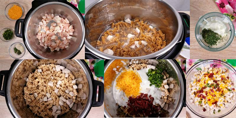 in process images for how to make crack chicken pasta salad