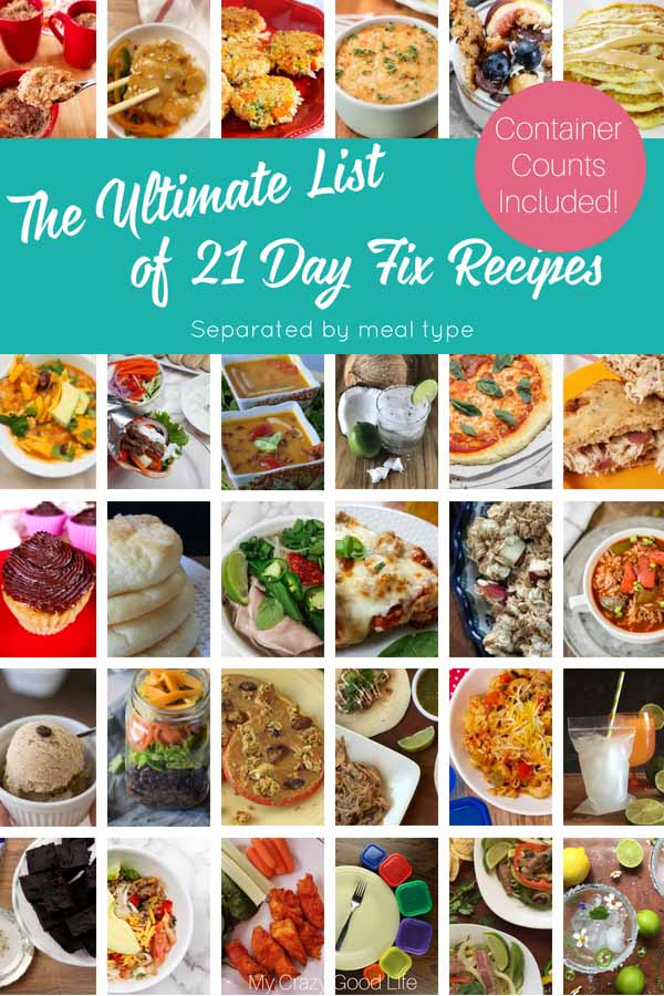 The ULTIMATE list of 21 Day Fix recipes! These recipes are separated by breakfast, lunch & dinner, snack, dessert, & Shakeology to help you be successful on the 21 Fix! These healthy recipes are for the Instant Pot, slow cooker or crockpot, and the stove or oven! All of the recipes here have container counts included.