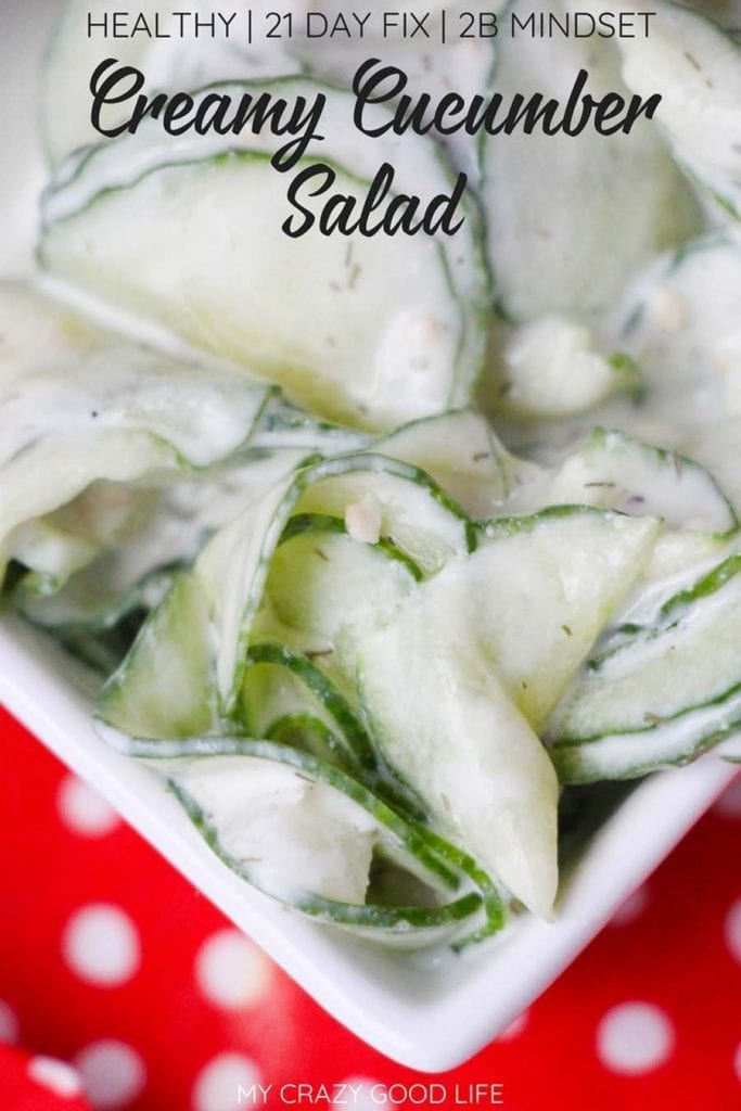 Healthy and Creamy Cucumber Salad - My Crazy Good Life