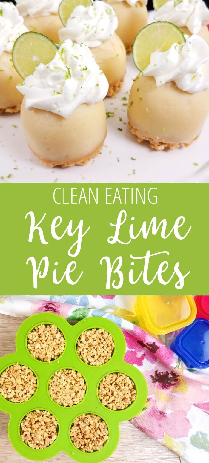 collage image with text of key lime pie bites and as they look in egg bite molds
