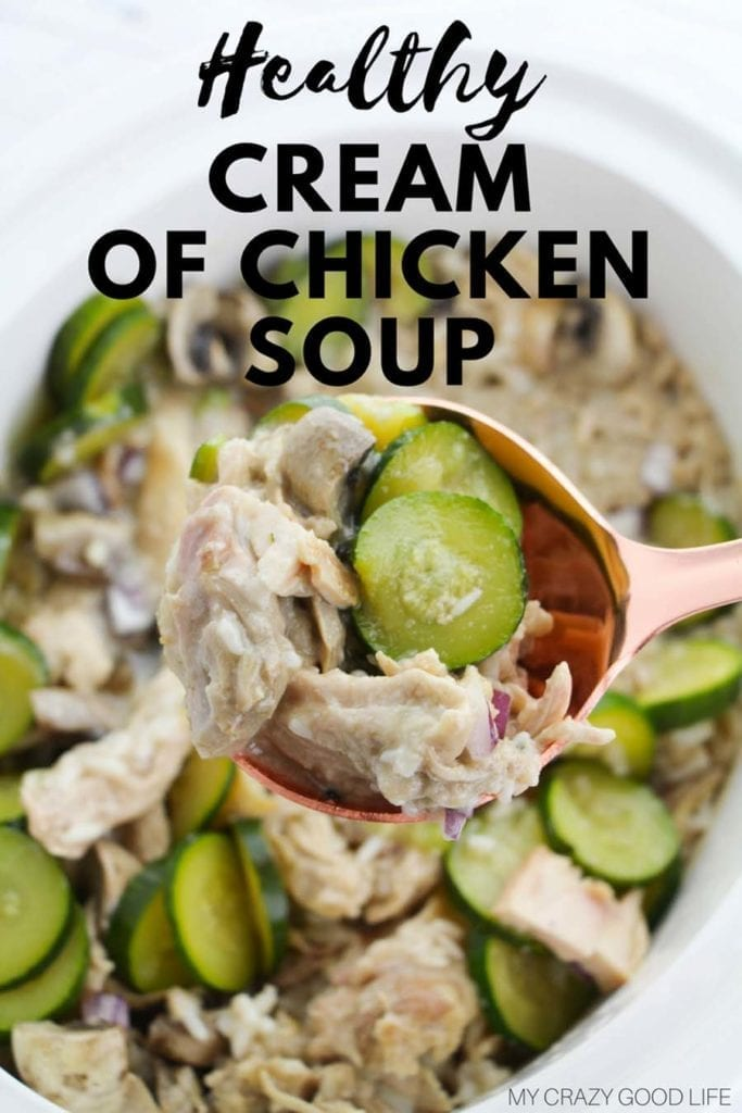 This is a healthy cream of chicken soup that can be made both dairy free and gluten free. A 21 Day Fix friendly cream of chicken soup that the whole family will love! Healthy Soup Recipe | Cream of Chicken Soup | 21 Day Fix Cream of Chicken Soup | Dairy Free Cream of Chicken Soup #21DayFix #2BMindset #healthyrecipes #soup