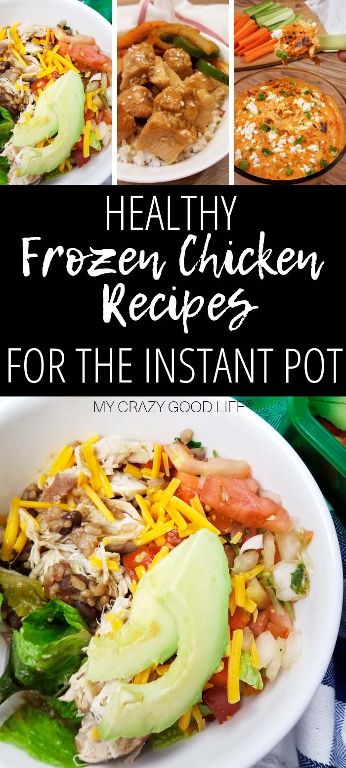 Instant Pot Frozen chicken recipes will save you time, dishes, and hassle. These frozen chicken Instant Pot recipes are perfect for weeknight family dinners when you forget to thaw chicken, plus they make it easy to cook dry rice in your electric pressure cooker. Making healthy dinner recipes in the Instant Pot has never been so easy.
