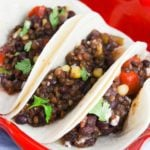 Instant Pot lentil tacos are a healthy dinner option! They're a great vegetarian taco recipe that is filling, fresh, and flavorful! The whole family will love these healthy lentil tacos. Lentil Tacos | Instant Pot Lentil Tacos | IP Tacos | Vegetarian Tacos #21DayFix #21DFX #2BMindset #healthyrecipes #dinnerrecipes