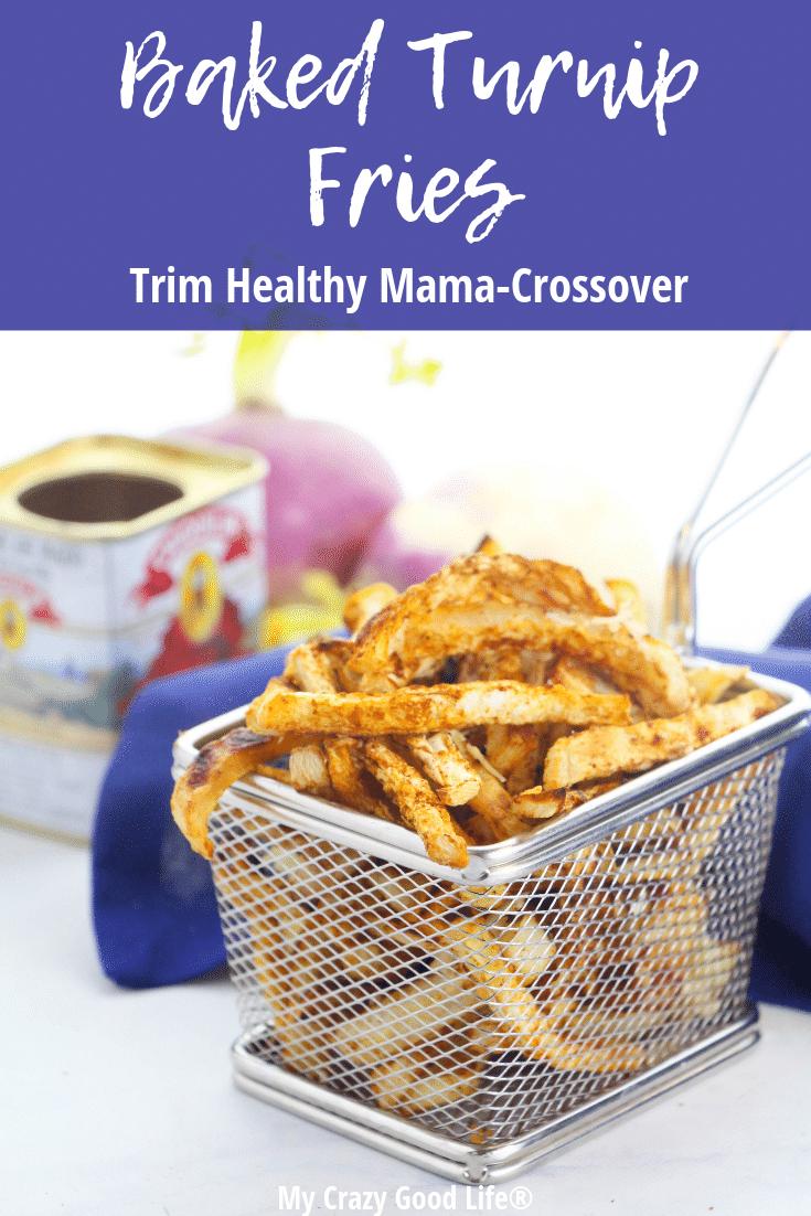 Turnip fries in a metal basket