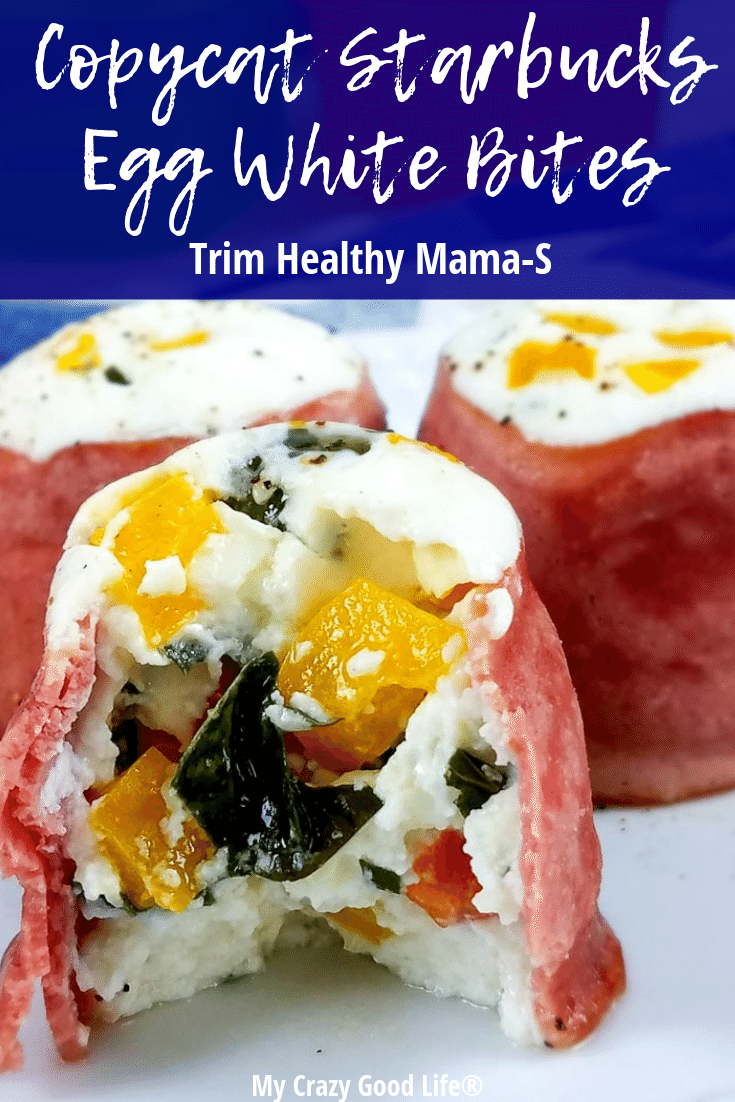 Finished egg white bites with Trim Healthy Mama program info on it.
