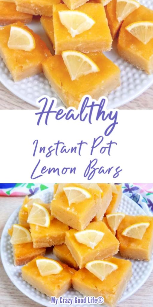 collage image with text for healthy lemon bars on a white plate