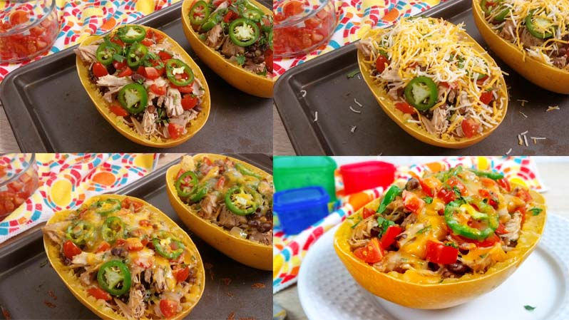 collage of how to make spaghetti squash bowls