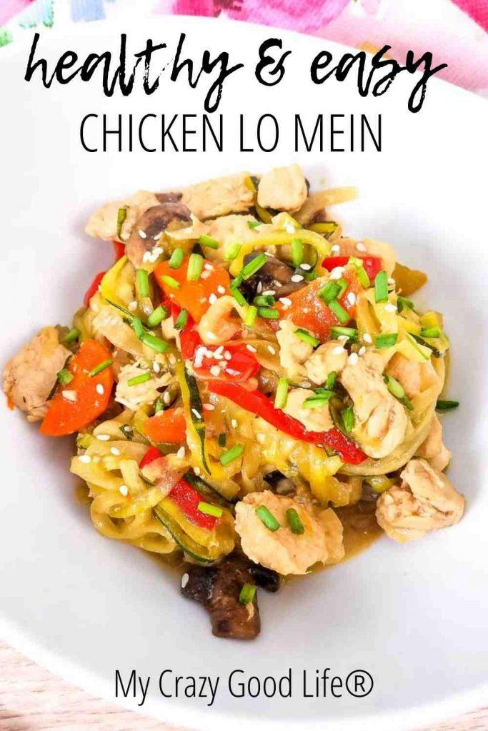 Chicken Lo Mein on a white plate