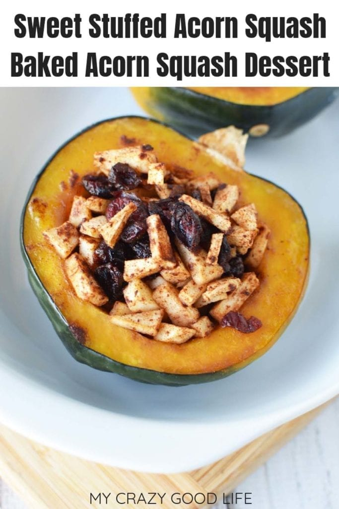Sweet treats don't have to be bad for you! These sweet stuffed acorn squash are delicious, easy, and healthy! Baked acorn squash is versatile and perfect for fall! Healthy Dessert | Baked Squash | Sweet Stuffed Acorn Squash | Fall Recipes | Dessert #21DayFix #Beachbody #Desserts #Recipes