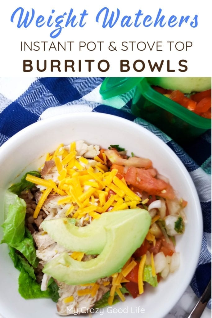 This Weight Watchers Instant Pot burrito bowl is delicious and makes a ton of food! It's perfect for Weight Watchers meal prep and easy to customize with your favorite toppings! It's an easy to freeze meal. Weight Watchers Freestyle Dinner | Weight Watchers Points | Weight Watchers Burrito Bowl | Weight Watchers Dinner Recipes #weightwatchers #ww #freestyle
