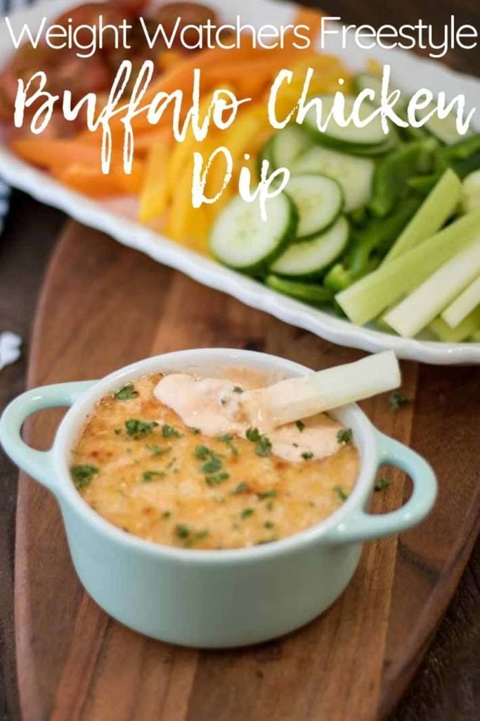 This Weight Watchers Buffalo Chicken Dip is full of protein and makes a great snack, lunch, or dinner! It's perfect for Weight Watchers meal prep and can be eaten on top of a salad, with veggies as a dip, or by itself–hot or cold! Weight Watchers Freestyle buffalo chicken dip is an easy to freeze recipe. Weight Watchers Freestyle Dinner | Weight Watchers Points | Weight Watchers Appetizers | Weight Watchers Lunch Recipes | WW Buffalo Chicken #weightwatchers #ww #freestyle