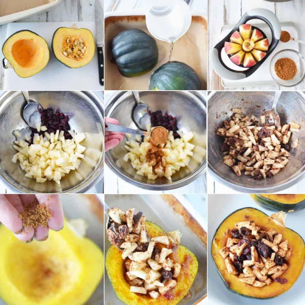 sweet stuffed acorn squash collage