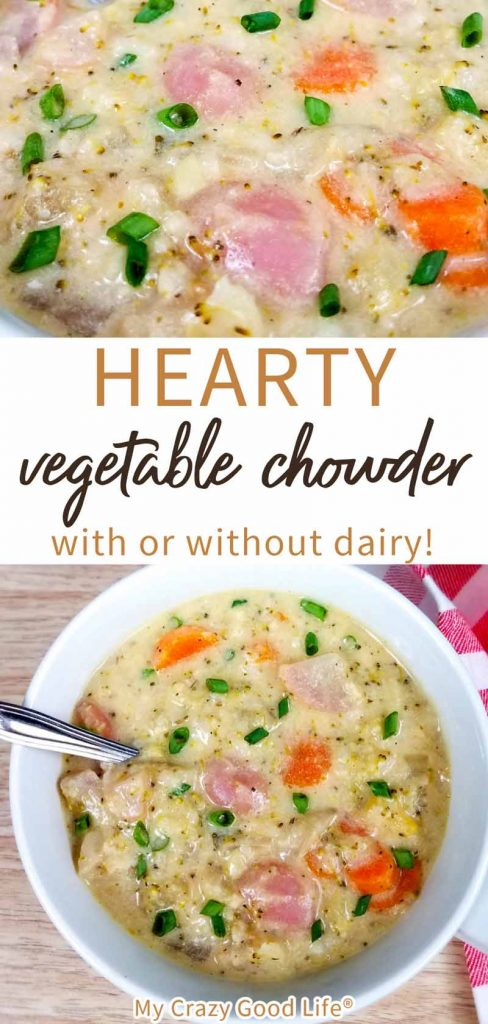 vegetable chowder in a white bowl with text for pinterest