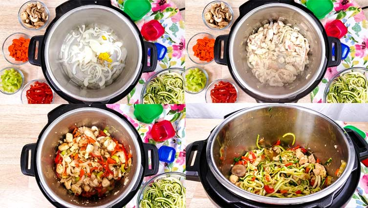 collage of chicken lo mein in process