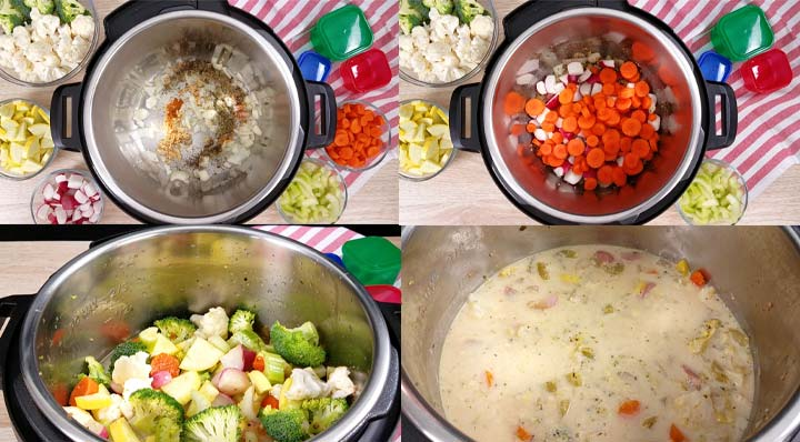 step by step pictures for how to cook this creamy vegetable soup
