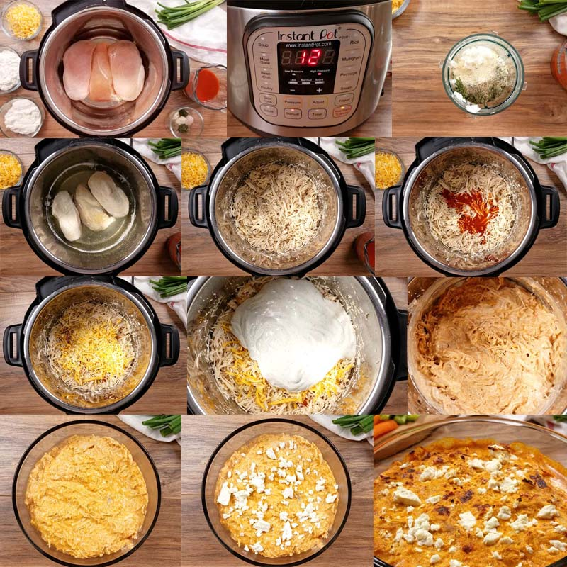 collage of images showing how to make ww buffalo chicken dip