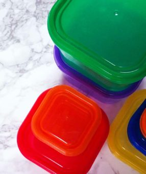 21 day fix containers on a countertop