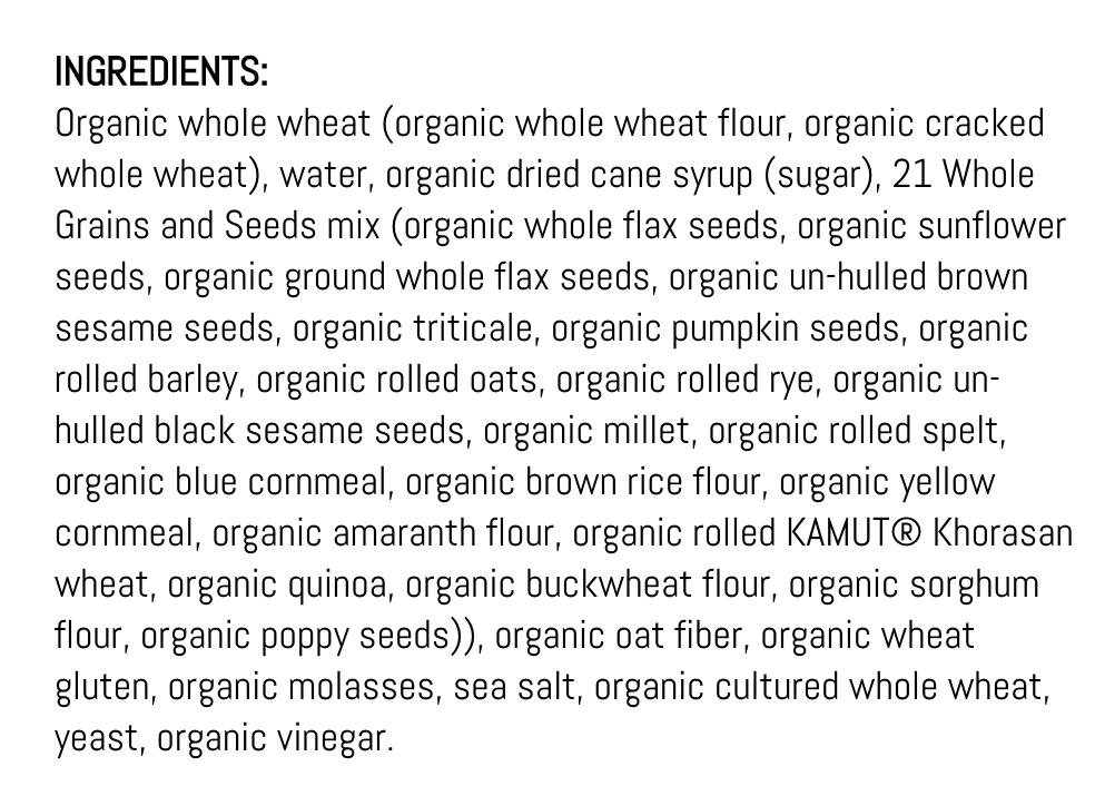 Ingredients in Dave's Killer Bread