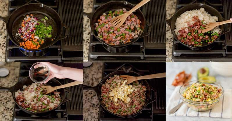 collage image showing how to make breakfast rice