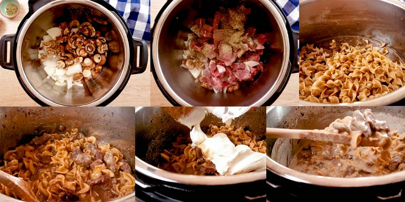 collage with 6 pictures of how to make stroganoff