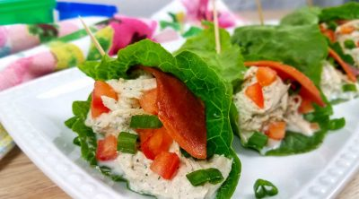 Dairy Free Crack Chicken in lettuce wraps
