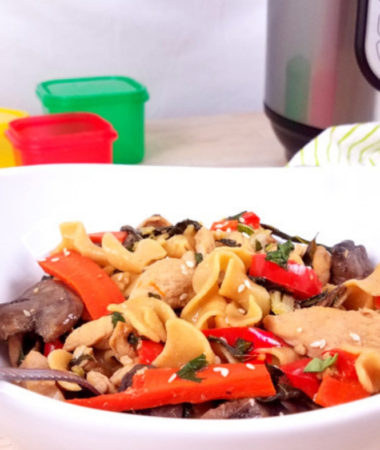 This Healthy Drunken Noodles recipe is one that your entire family will love! An easy weeknight dinner, this drunk pasta can be made in the Instant Pot, slow cooker, or on the stove! Easy Drunken Noodles | Instant Pot Drunken Noodles | Crockpot Drunken Noodles | Thai Drunken Noodles | Drunken Noodles with Chicken