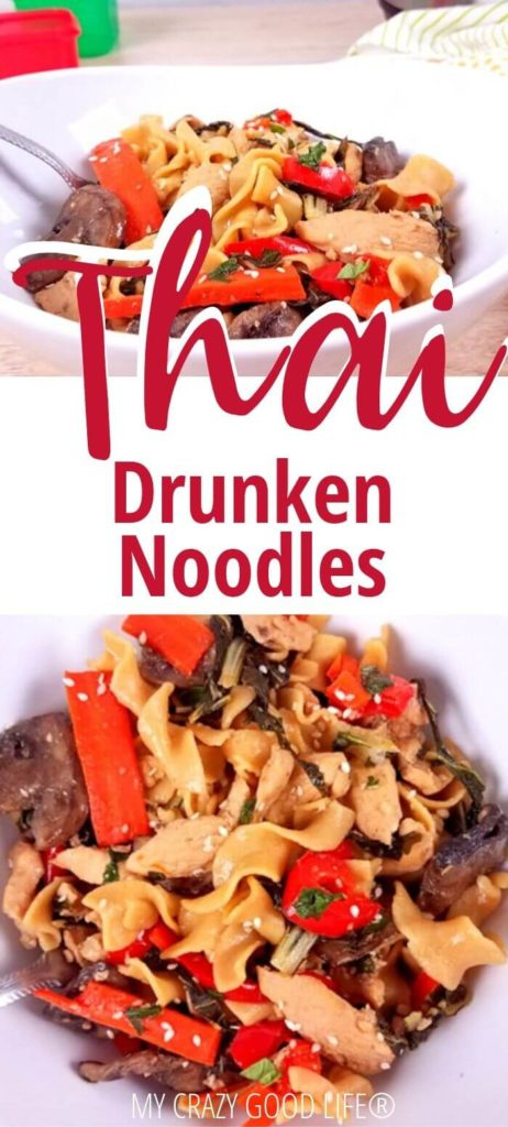 Thai drunken noodles pin with images of the finished noodles!