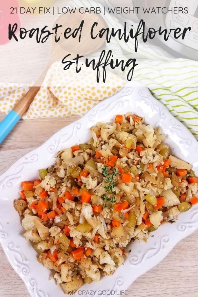 This low carb Cauliflower Stuffing can be made in the Instant Pot or in the oven, and is the perfect Thanksgiving side dish! All of the delicious stuffing flavors with less carbs and calories than your traditional stuffing recipe–that means I can eat more! Vegan Stuffing Recipe | Low-Carb Stuffing Recipe | Holiday Side Dish | Roasted Cauliflower Rice Stuffing | Healthy Cauliflower Rice Recipes #stuffing #thanksgiving #healthy