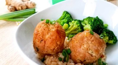 Weight Watchers Teriyaki Meatballs with Rice on a plate