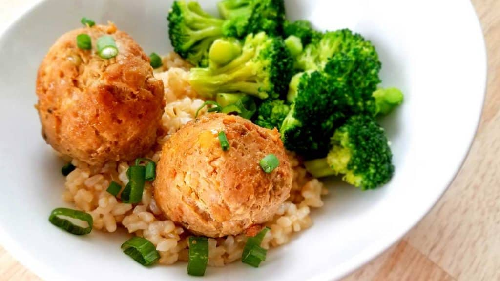 Weight Watchers Teriyaki Meatballs with Rice on a white plate